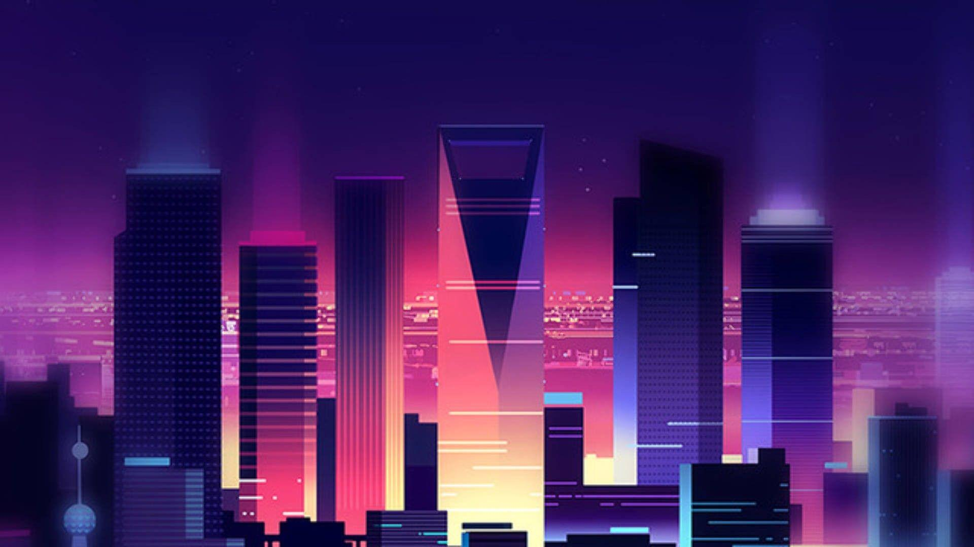 synthwave wallpaper gif